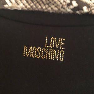 Black Long Sleeve Bow Tee Love Moschino